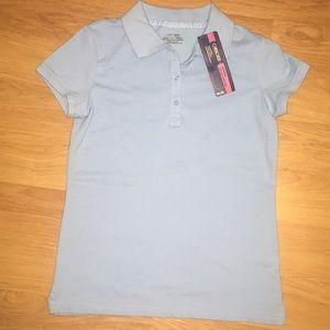 BNWT Girls Uniform SS Shirt Blue Cherokee Large